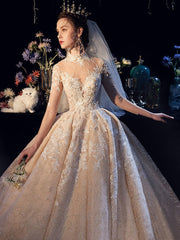 Long Sleeves Lace Wedding Dress Ball Gown Off-the-shoulder - onlybridals