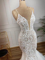 Only bridals Gorgeous Beaded Lace Mermaid Wedding Dress 2020 Sexy V Neck Backless Ruffles Train Wedding Gowns - The Only Love Wedding Dress