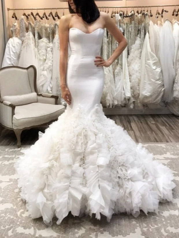 Only bridals Sexy Sweetheart Bodice Corset Satin Mermaid Wedding Dresses Organza Ruffles - onlybridals