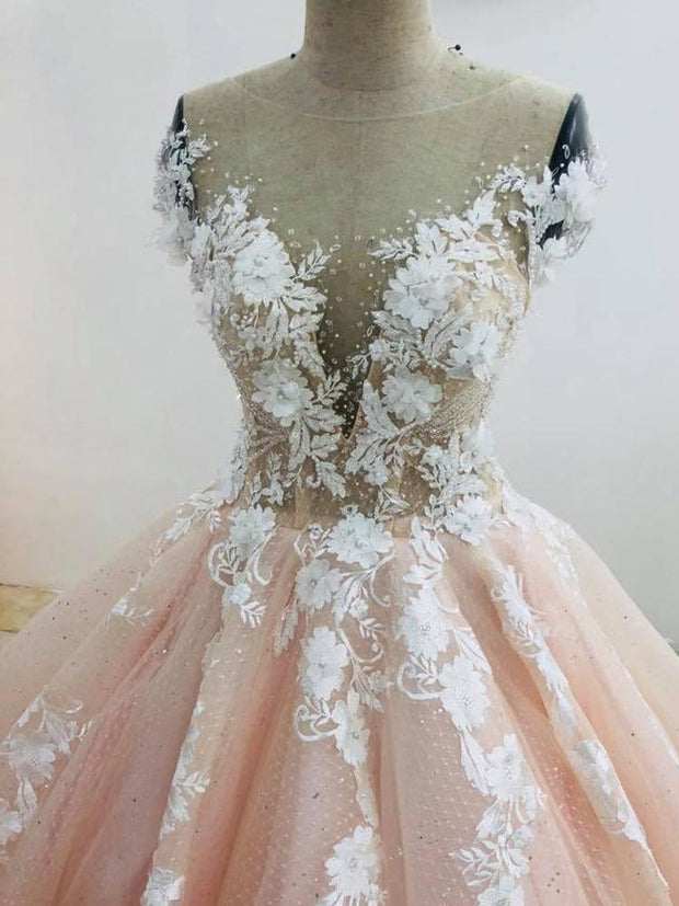 onlybridals Pretty pastel pink lace applique wedding dress chapel train