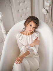 Simple Ivory Chiffon Wedding Garment with Long Neck Sleeves