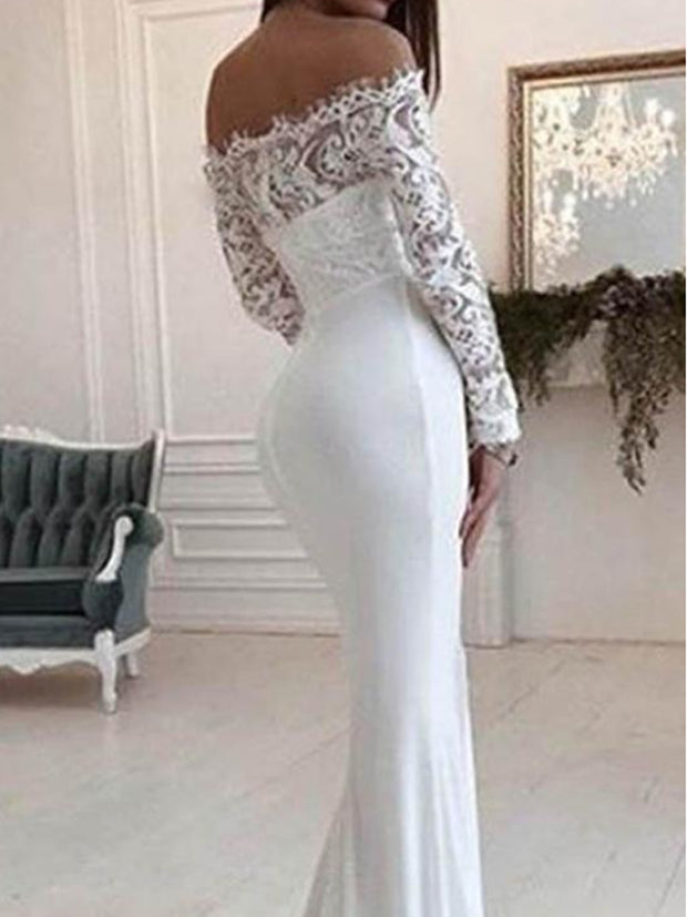 Gorgeous White Scoop Off Shoulder Mermaid Long Wedding Dress - onlybridals