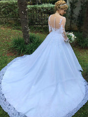 onlybridals vestido de noiva Illusion Ball Gown Wedding Dresses 2019 Long Sleeve Wedding Dress Lace - onlybridals