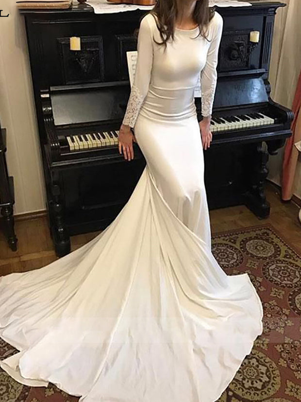 onlybridals  Mermaid wedding dress Long sleeve Dubai Wedding Bride Dress Soft Satin Wedding Gowns Vestido - onlybridals