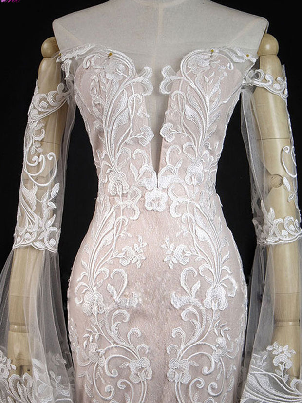 onlybridals Sparkly Embroidery Applique Lace Mermaid Wedding Dress Hot Sale With Button Long Sleeves Off The Shoulder Bridal dress - onlybridals