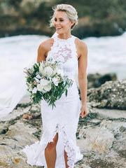 onlybridals White Halter Lace Sweep Train Beach Wedding Dresses, Appliques Wedding Gown