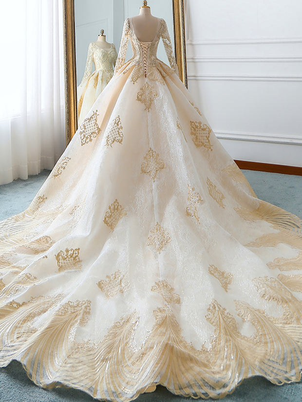 Luxury Ball Gown Long Sleeves Lace Wedding Dresses 2019