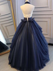 onlybridals  Blue Long Prom Dresses Halter Appliques Backless Evening Dresses