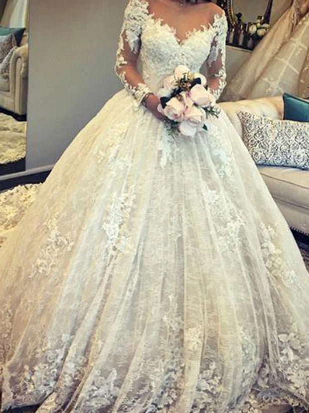 onlybridals Ball Gown Ivory Wedding Dress Long Sleeve Vintage Plus Size Wedding Dress - onlybridals