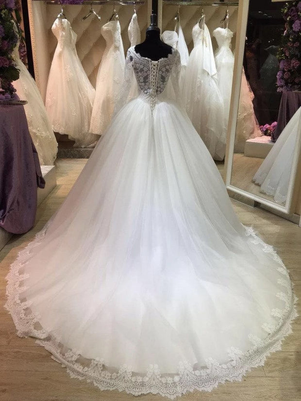 Only bridals Bateau Neck Long Illusion Sleeve Tulle Ball Gown With Lace wedding dress