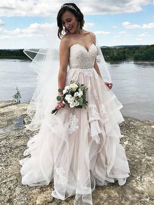 onlybridals Sweetheart White Wedding Dresses For Women With Appliques
