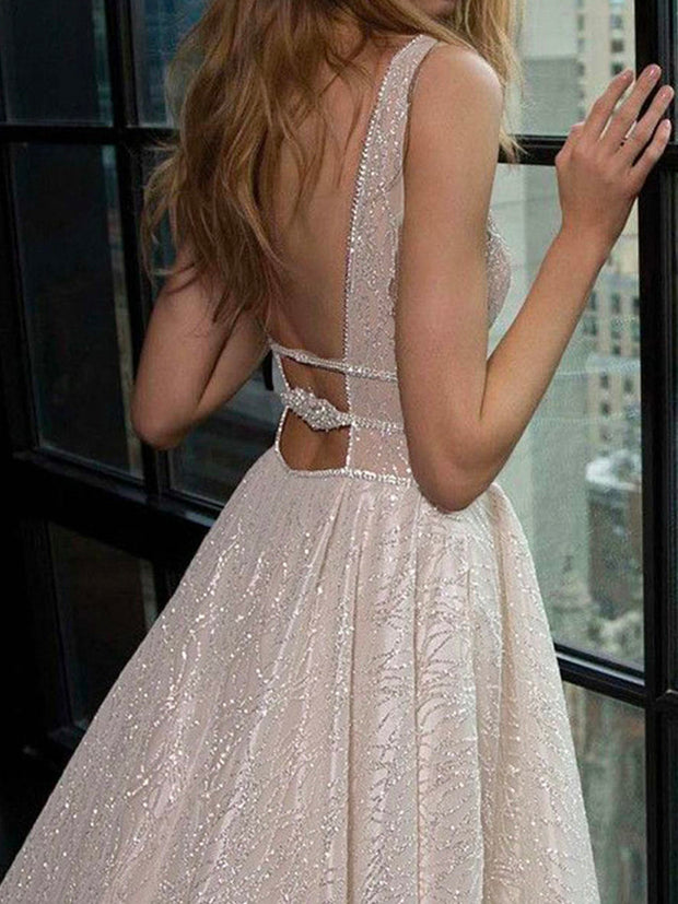 onlybridals A Line Wedding Dresses Sparkly White Sequined Backless Boho Glitter Wedding Bride Gowns - onlybridals