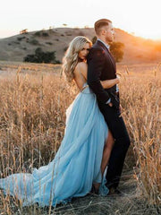 onlybridals Simple Wedding Dress 2019 A Line Sexy Backless Thigh Split Sky Blue Chiffon Princess beach wedding gown
