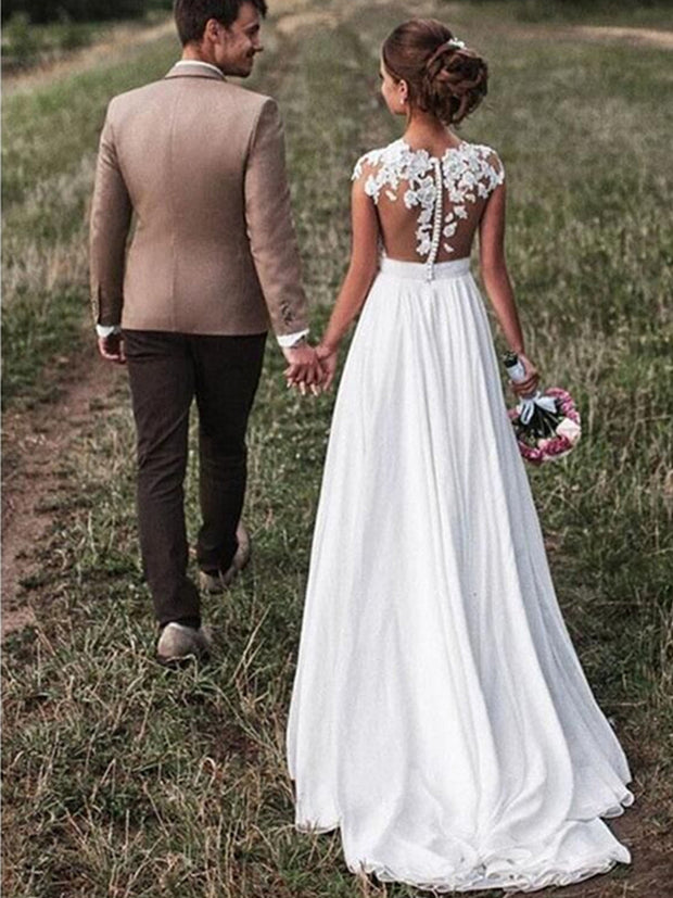 onlybridals Beach Lace Appliques Bride Dress New Cap-Sleeves Slit Side Buttons White/Ivory Wedding Dresses - onlybridals