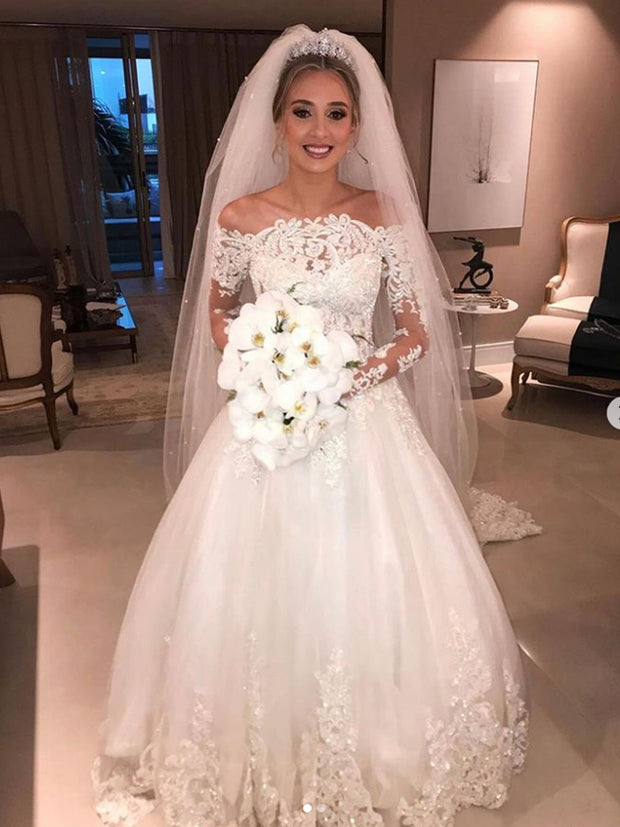 onlybridals cheap Ball Gown Ivory Wedding Dress Long Sleeve Vintage Plus Size Wedding Dress - onlybridals