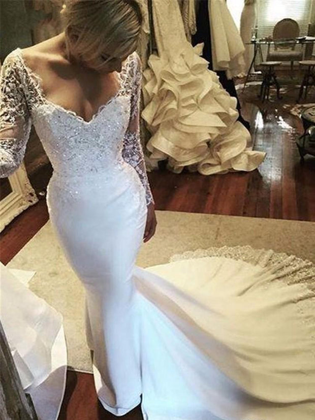 onlybridals Vintage Long Sleeve Lace Mermaid Wedding Dresses White Chiffon Sequin Wedding Gowns Weding Bridal Bride Dresses Weddingdress - onlybridals