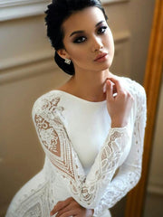 onlybridals Mermaid Wedding Dresses Lace  Beaded Berta Sweep Train Boho Wedding Dress Bridal Gowns Sleeves - onlybridals