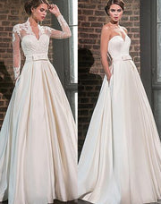 Only bridals Elegant Sweetheart Satin Wedding Dress with Jacket Long Sleeve Floor Length Bridal Gowns - onlybridals