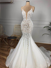 Only bridals Gorgeous Beaded Lace Mermaid Wedding Dress 2020 Sexy V Neck Backless Ruffles Train Wedding Gowns