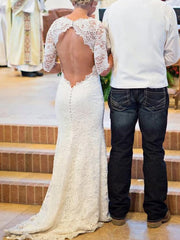 onlybridals White Lace Open Back Long Sleeve Mermaid Long Wedding Dresses - onlybridals