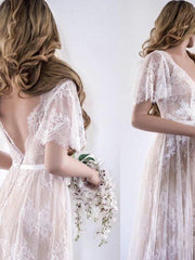 onlybridals Short Sleeve Wedding Dresses V Neck A Line Appliques Sexy Lace Backless Bridal Gown Beach wedding - onlybridals