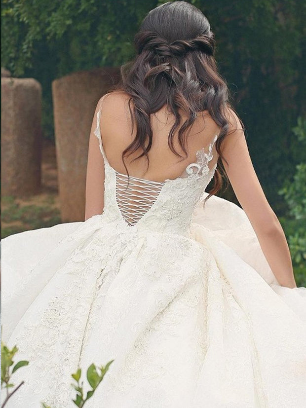 onlybridals Bride Lace Ball Gown Wedding Dresses 2019 Spaghetti Straps V Neck Lace Up Back Bridal Wedding Gowns Plus Size - onlybridals