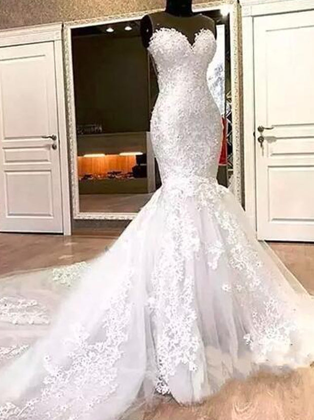 onlybridals Mermaid Lace Wedding Dresses Appliques Beads Long Cheap - onlybridals