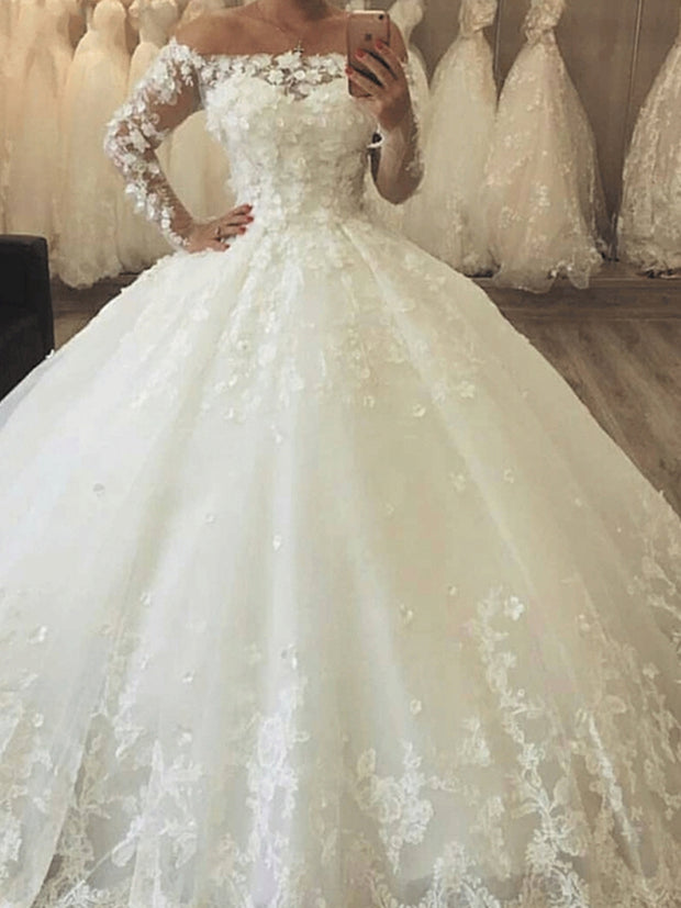 onlybridals Wedding Dresse  African wedding gowns Lace Applique White Wedding Bridal Gown - onlybridals