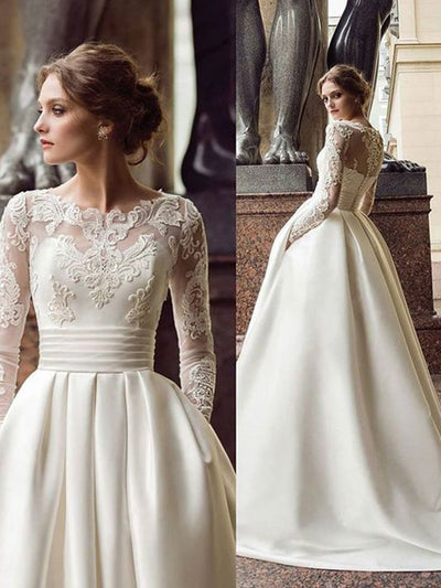 Long Sleeve Wedding Dresses Turkey Scoop Satin Appliqued A-line Bridal Gown - onlybridals