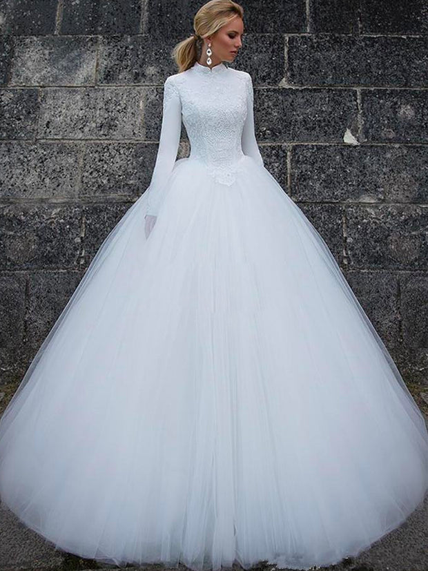 onlybridals Elegant High Neck Long Sleeves Lace Satin Tulle Floor Length Ball Gown