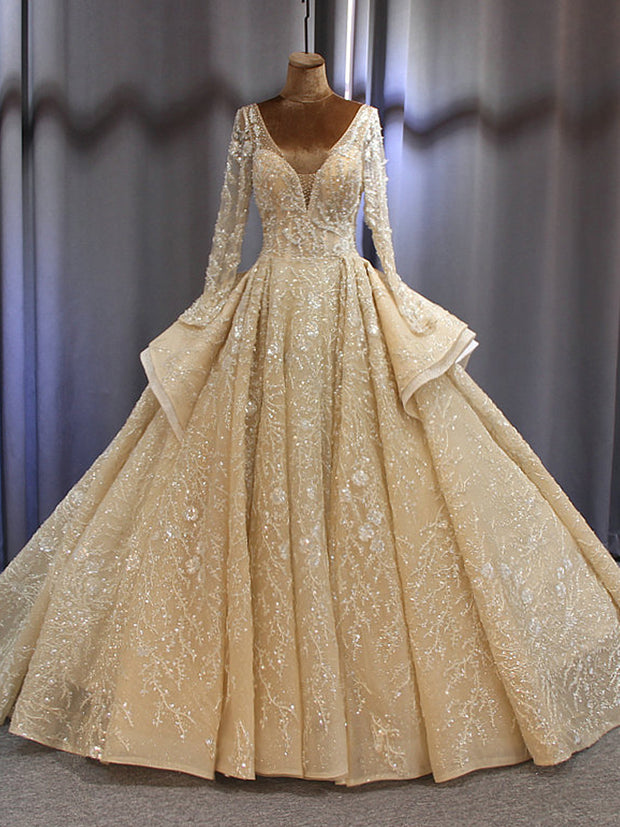 onlybridals Wedding Dress bridal gown 2019 sleeves bridal dress full beading sparkling - onlybridals
