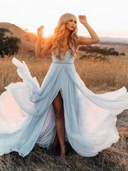 onlybridals Simple Wedding Dress 2019 A Line Sexy Backless Thigh Split Sky Blue Chiffon Princess beach wedding gown - onlybridals