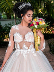 onlybridals Excellent Tulle Jewel Neckline Plus Size Ball Gown Wedding Dresses With Appliques - onlybridals