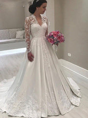 onlybridals Long Sleeves Applique Lace V Neck A-Line Floor Length Saudi Arabic Bride Dress