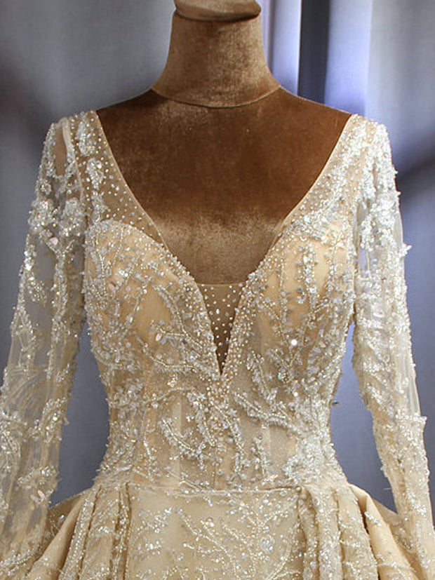 onlybridals Wedding Dress bridal gown 2019 sleeves bridal dress full beading sparkling