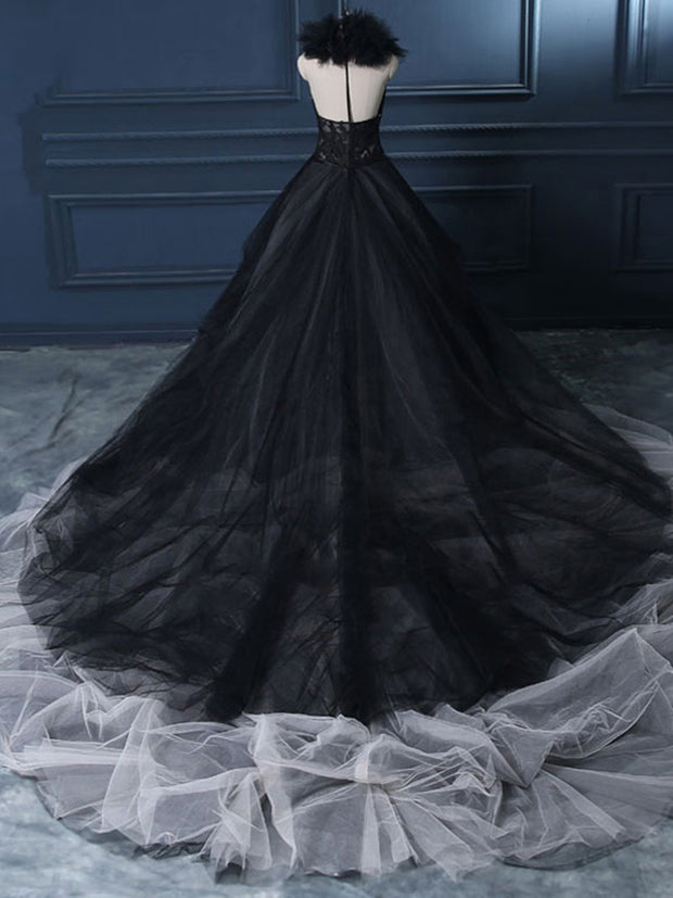 onlybridals A Line Black Wedding Dress 2019 Wedding Gown Count Train Princess Vintage Bridal Dress
