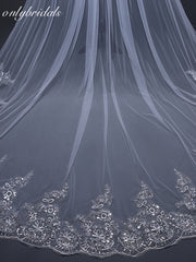 onlybridals 3 Meter White Ivory Cathedral Wedding Veils Long Lace Edge Bridal Veil with Comb - onlybridals