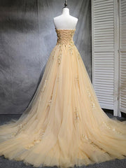 onlybridals Champagne tulle lace long prom dress, tulle evening dress