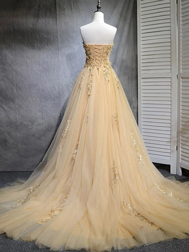 onlybridals Champagne tulle lace long prom dress, tulle evening dress - onlybridals