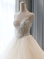 onlybridals V Neck Spaghetti Straps Puffy White Long Wedding Dresses, V Neck Puffy White Prom Dresses - onlybridals