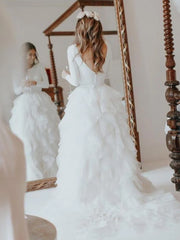 onlybridals A-Line Round Neck Long Sleeves Sweep Train Custom Wedding Dresses - onlybridals