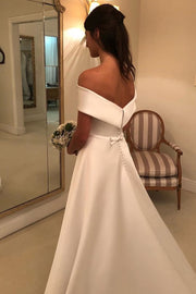 A-line Satin Formal Wedding Gown with Lace Sleeves - onlybridals