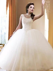 onlybridals High Neck Ball Gown Wedding Dresses Bling Bling Crystal Beaded Bridal Gowns Open Back Sexy Tulle Dress Custom - onlybridals