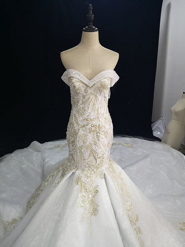 onlybridals lace flower floor-length ivory ball fashionable wedding gawn wedding dress - onlybridals