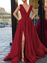 Elegant V-Neckline Satin Burgundy Evening Party Sleeveless Long Prom Party Dress - onlybridals