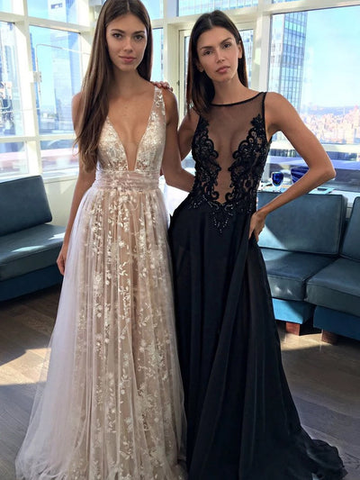 onlybridals Tulle V-Neck A-Line Long Prom Dress with Real Appliques, Party Dresses - onlybridals