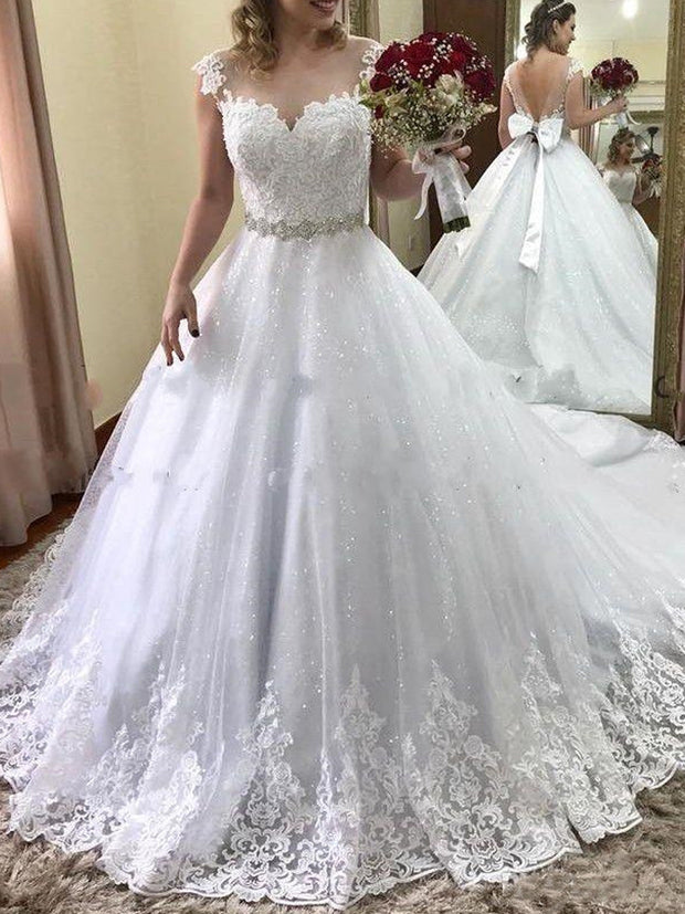 onlybridals women Fashion Illusion Lace Sleeveless Luxery Wedding Dress Wedding Gown