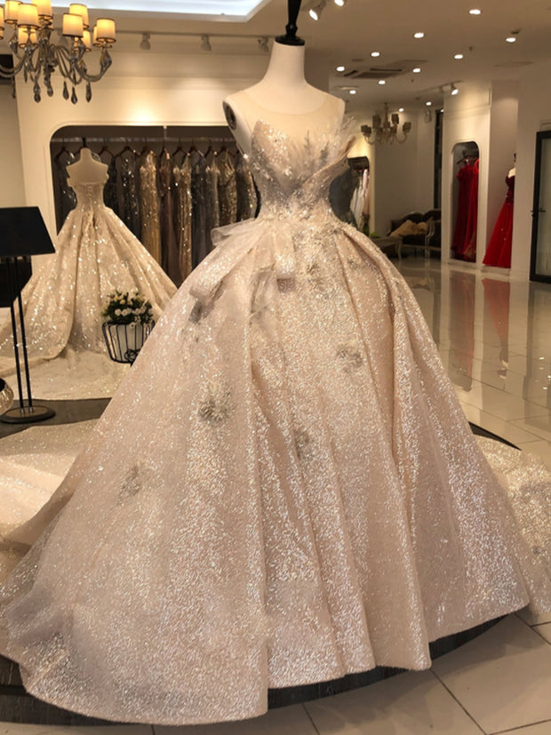 Luxury Long Sleeves Lace Wedding Dresses 2019 Scoop Luxury Puffy Ball Gowns For Bridal Vestido