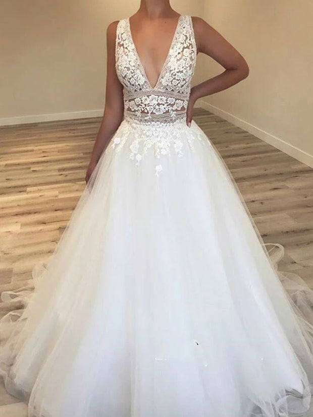 onlybridals Deep V-Neck Tulle Bridal Gowns Lace Appliques Sleeveless Wedding Dresses