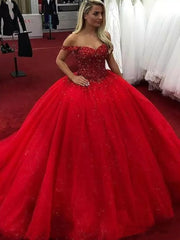 onlybridals Luxury Red Wedding Dresses Top Beaded Tulle Shining Princess Wedding Dress Custom Made Puffy Formal Party Dress - onlybridals